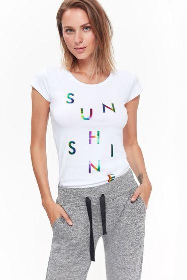 Fehér Top Secret póló casual pamutból készült szűk szabás rövid
