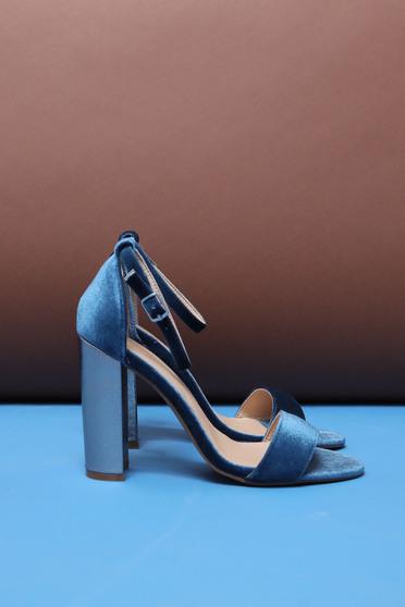 Kék Top Secret szandál elegáns vastag sarok magassarkú vékony pántok