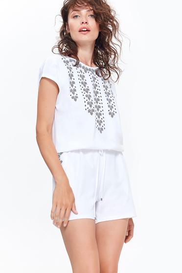 Fehér Top Secret overál casual pamutból készült derékban zsinórral köthető meg zsebes