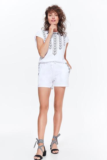 Fehér Top Secret casual pamutból készült overál derékban zsinórral köthető meg zsebekkel