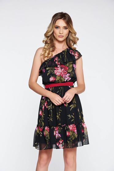 Fekete LaDonna ruha hétköznapi lenge anyagból belső béléssel derékban rugalmas