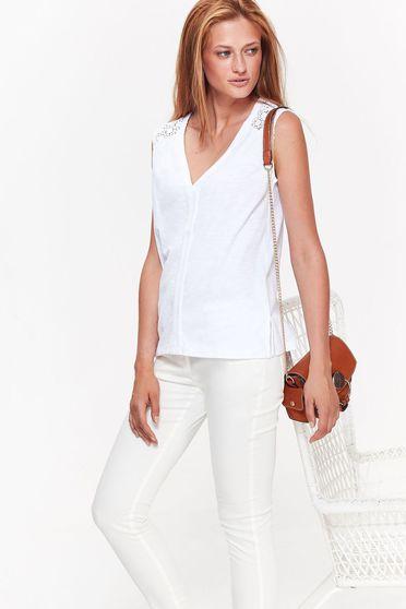 Fehér Top Secret női blúz casual bő szabású nem elasztikus pamut v-dekoltázzsal