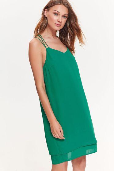 Sötétzöld Top Secret ruha elegáns bő szabású lenge anyagból pántok