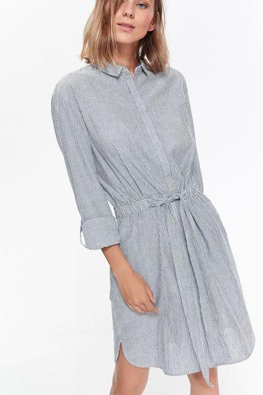 Kék Top Secret ruha casual pamutból készült bő szabás övvel ellátva