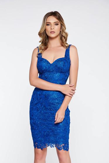 Kék alkalmi ruha csipkés anyagból belső béléssel flitteres díszítés szivacsos  mellrész eab73c55aa
