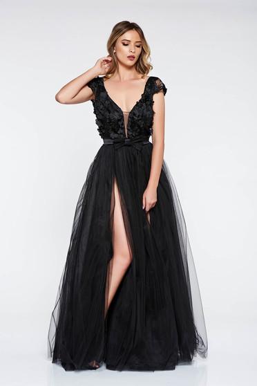 Fekete Artista ruha alkalmi tüll belső béléssel szivacsos mellrész virágos díszek 3d effekt