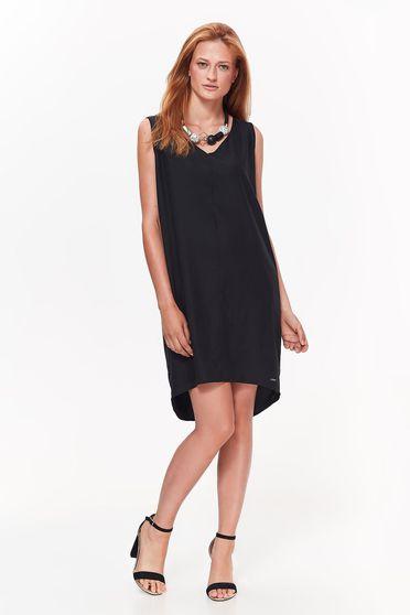 Fekete Top Secret ruha hétköznapi aszimetrikus bő szabás nem rugalmas anyag v-dekoltázzsal