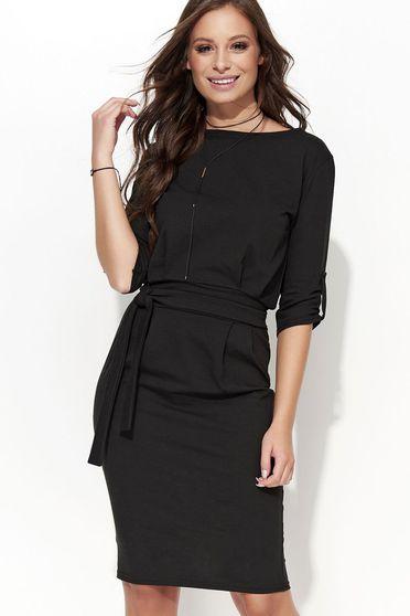 Fekete Folly ruha casual egyenes szabás rugalmas anyag övvel ellátva