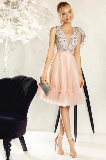 Rózsaszínű Fofy ruha alkalmi csipkés anyagból tüll hímzett 3d effekt