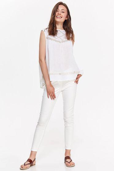 Fehér Top Secret női blúz casual bő szabású nem elasztikus pamut csipke díszítéssel