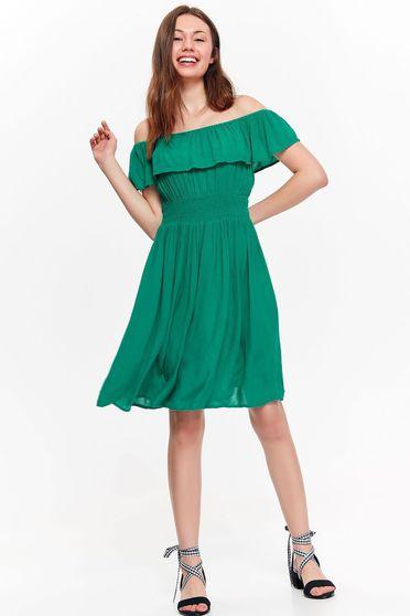 Zöld Top Secret ruha casual lenge anyagból belső béléssel fodrok a mellrészen a vállakon
