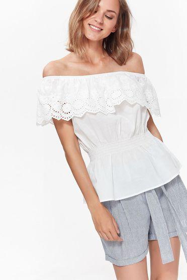 Fehér Top Secret casual bő szabású női blúz pamutból készült derékban rugalmas fodrok a mellrészen