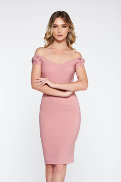 Rózsaszínű StarShinerS elegáns ceruza ruha enyhén rugalmas szövet váll nélküli
