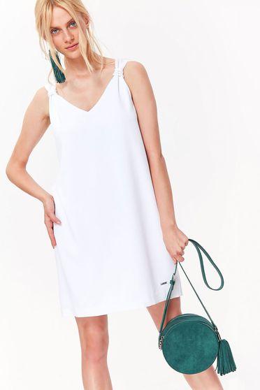 Fehér Top Secret hétköznapi bő szabású ruha nem rugalmas anyag v-dekoltázzsal