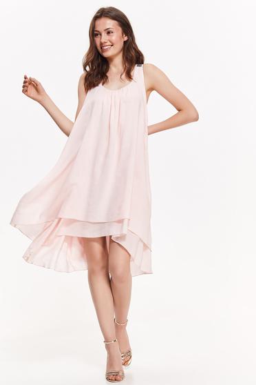 Rózsaszínű Top Secret elegáns bő szabású ruha lenge anyagból belső béléssel asszimmetrikus szabással
