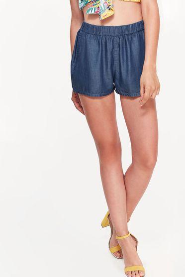 Kék Top Secret casual rövidnadrág nem rugalmas anyag vékony anyag zsebes derékban rugalmas