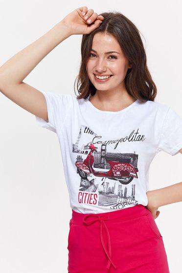 Fehér Top Secret casual bő szabású rövid póló nem elasztikus pamut nyomtatott mintával