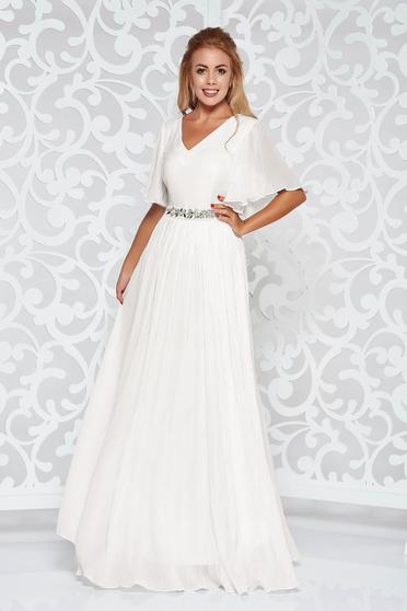 Fehér StarShinerS ruha fátyol belső béléssel alkalmi övvel ellátva strassz köves kiegészítő