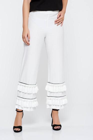 Fehér elegáns nadrág nem rugalmas anyag magas derekú bojtos