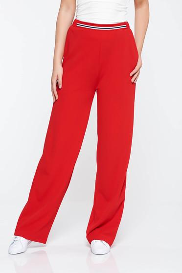 Piros StarShinerS casual bővülő nadrág rugalmas anyag zsebes