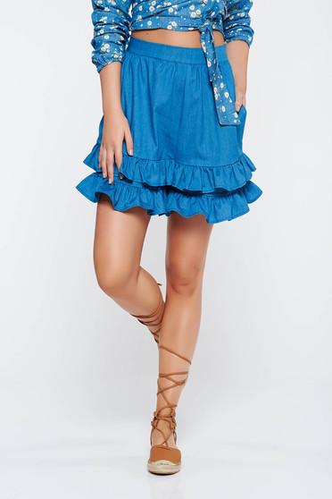 Kék StarShinerS rövidnadrág casual magas derekú nem elasztikus pamut fodros zsebes