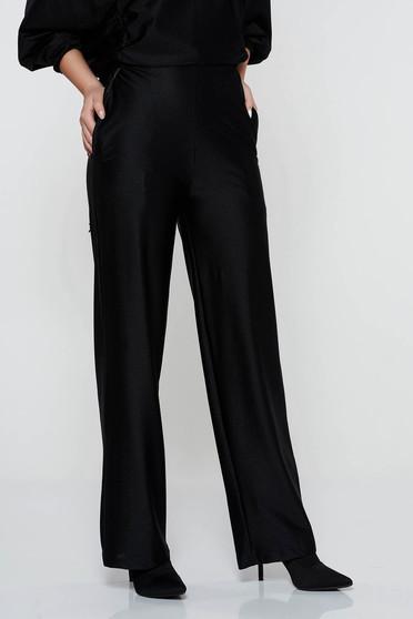 Fekete StarShinerS casual nadrág bővülő magas derekú rugalmas anyag zsebekkel