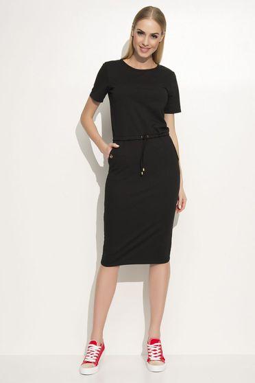 Fekete Makadamia ruha casual egyenes szabás enyhén rugalmas anyag elől zsebek