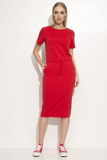 Piros Makadamia ruha casual egyenes szabás enyhén rugalmas anyag elől zsebek