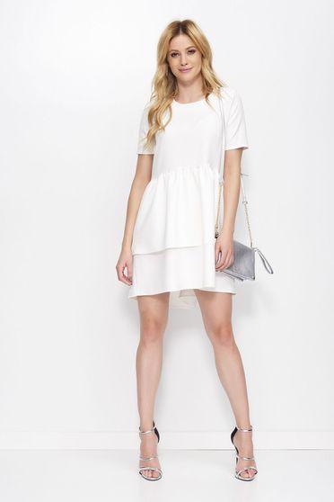 Fehér Makadamia ruha elegáns asszimmetrikus szabással bő szabású fodros enyhén rugalmas anyag