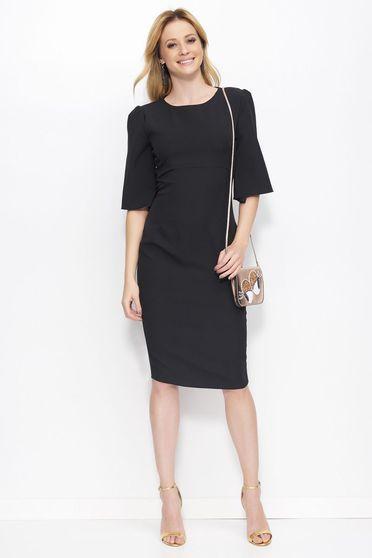 Fekete Makadamia ruha elegáns ceruza midi enyhén rugalmas anyag kerek gallér