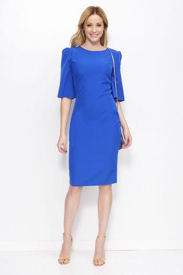 Kék Makadamia ruha elegáns ceruza midi enyhén rugalmas anyag kerek gallér