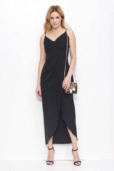 Fekete Makadamia ruha estélyi ruhák pántok átfedéses lenge anyagból