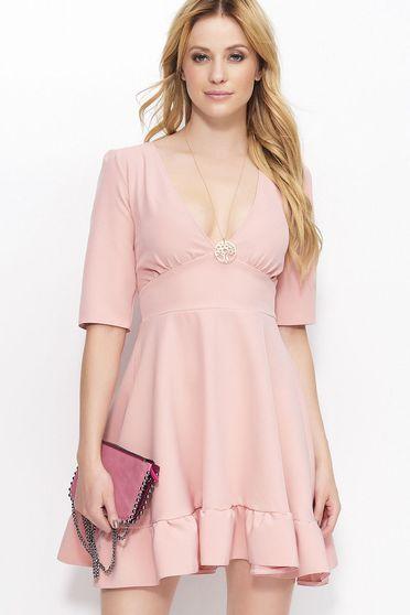 Rózsaszínű Makadamia ruha elegáns dekoltált 3/4-es ujjú rövid
