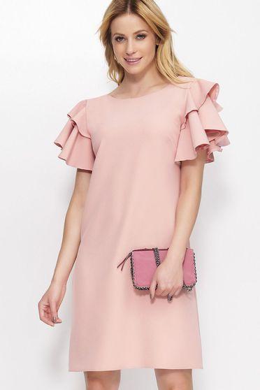 Rózsaszínű Makadamia ruha elegáns deréktól bővülő szabás fodrozott ujjakkal enyhén elasztikus szövet