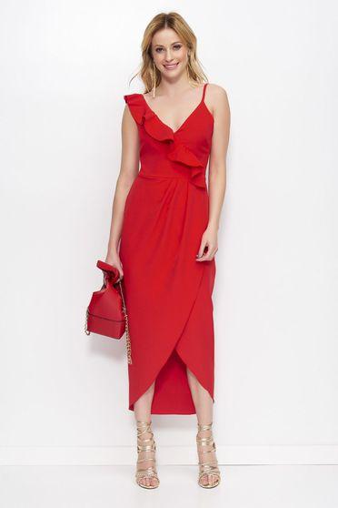 Piros Makadamia elegáns ruha asszimmetrikus szabással v-dekoltázzsal fodros