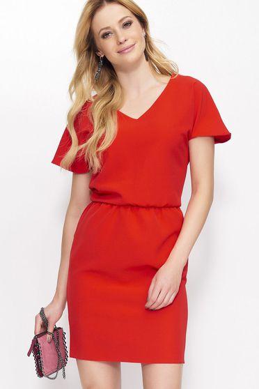 Piros Makadamia casual rövid ujjú rövid derékban rugalmas ruha