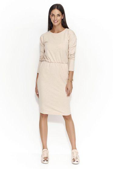 Krém Numinou ruha casual egyenes szabás derékban rugalmas vékony anyag