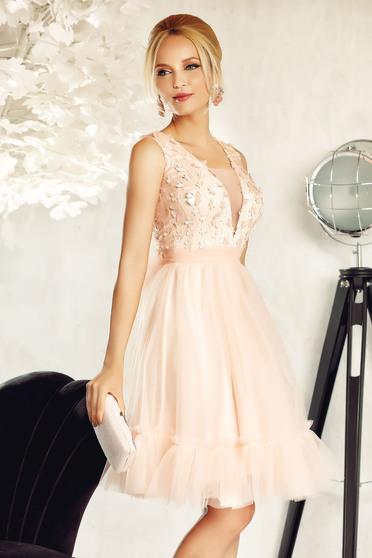 Rózsaszínű Fofy alkalmi harang ruha tüll virágos díszek 3d effekt