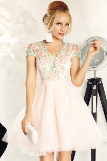 Rózsaszínű Fofy alkalmi harang ruha tüll hímzett betétekkel belső béléssel