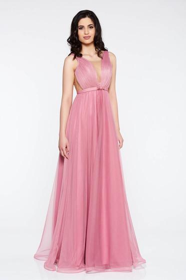 Világos rózsaszín Ana Radu ruha övvel ellátva tüll mély dekoltázs belső  béléssel c078681cdb
