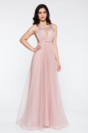 Rózsaszínű Ana Radu ruha övvel ellátva tüll mély dekoltázs belső béléssel 7e2e73b888