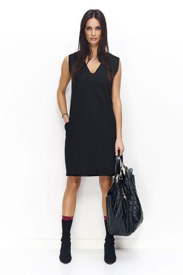 Fekete Numinou casual egyenes szabás ruha zsebes v-dekoltázzsal ujjatlan