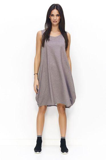 Szürke Numinou ruha casual ujjatlan bő szabású enyhén elasztikus pamut
