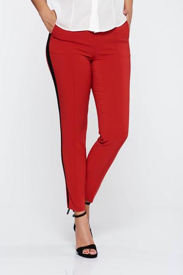 Piros elegáns hosszú kónikus nadrág zsebes enyhén rugalmas szövet