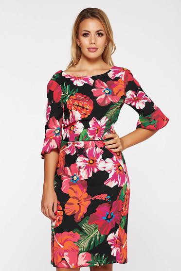 Fekete elegáns harang ruha lenge anyagból belső béléssel virágmintás díszítéssel