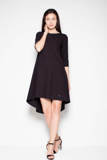 Fekete Venaton ruha casual asszimmetrikus szabással enyhén rugalmas anyag 3/4-es ujjú