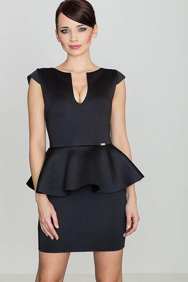 Fekete Lenitif ruha elegáns derekán fodros karcsusított szabás enyhén rugalmas anyag