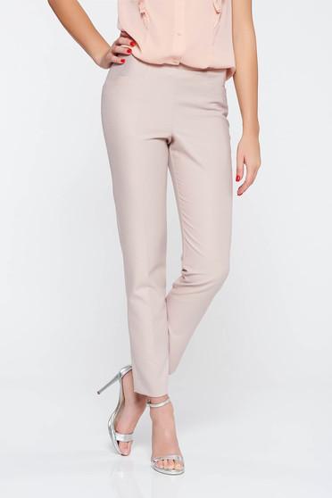 Rózsaszínű elegáns hosszú kónikus nadrág enyhén rugalmas anyag zsebes