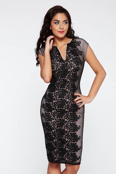 Fekete PrettyGirl elegáns ceruza ruha csipkés anyag belső béléssel rövid ujjú