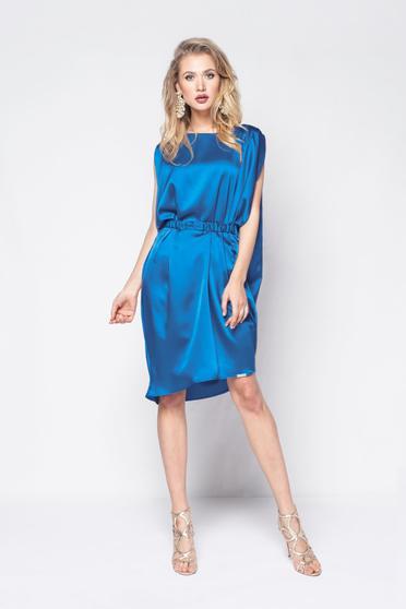 Kék PrettyGirl ruha party szatén anyagból bő szabás övvel ellátva